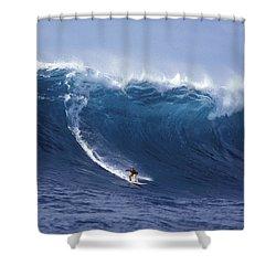 Man Vs Mountain Shower Curtain by Sean Davey