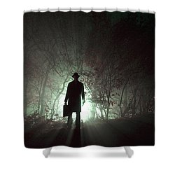 Shower Curtain featuring the photograph Man Waiting In Fog With Case by Lee Avison