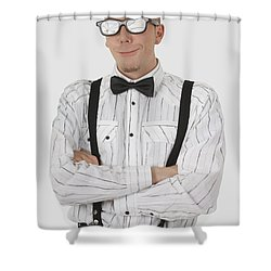 Man Wearing Sunglasses Suspenders And Shower Curtain by Stock Foundry