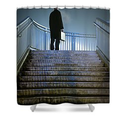 Shower Curtain featuring the photograph Man With Case At Night On Stairs by Lee Avison