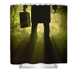 Shower Curtain featuring the photograph Man With Case In Fog by Lee Avison