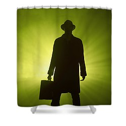 Shower Curtain featuring the photograph Man With Case In Green Light by Lee Avison