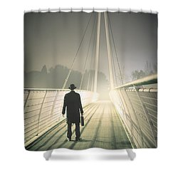 Shower Curtain featuring the photograph Man With Case On Bridge by Lee Avison