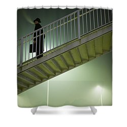 Shower Curtain featuring the photograph Man With Case On Steps Nighttime by Lee Avison