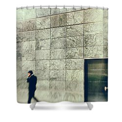 Shower Curtain featuring the photograph Man With Cell Phone by Silvia Ganora