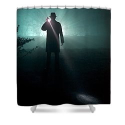 Shower Curtain featuring the photograph Man With Flashlight  by Lee Avison