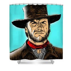 Shower Curtain featuring the mixed media Clint Eastwood by Salman Ravish