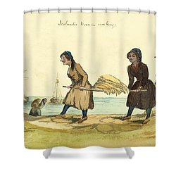 Man Working And Icelandic Women Working Circa 1862 Shower Curtain by Aged Pixel