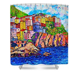 Manarola Cinque Terre Italy Detail Shower Curtain by Ana Maria Edulescu