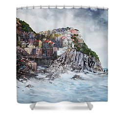 Manarola Italy Shower Curtain by Jean Walker