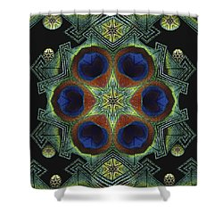 Shower Curtain featuring the digital art Mandala Peacock  by Nancy Griswold