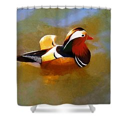 Mandarin Duck Flapping In The Water Shower Curtain
