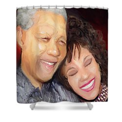 Shower Curtain featuring the painting Mandela And Whitney by Vannetta Ferguson