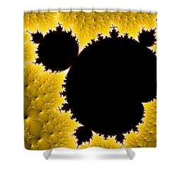 Mandelbrot Set Black And Yellow Fractal Art Shower Curtain