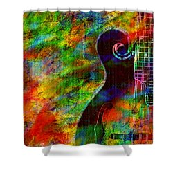 Mandolin Magic Shower Curtain by Ally  White