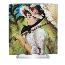 Manet Woman With Parasol Shower Curtain
