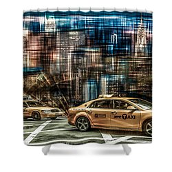 Manhattan - Yellow Cabs - Future Shower Curtain by Hannes Cmarits