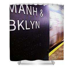 Manhattan And Brooklyn Shower Curtain by James Aiken