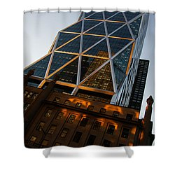 Manhattan Blues And Oranges Shower Curtain