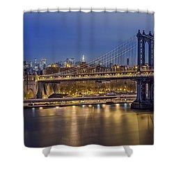 Manhattan Bridge Shower Curtain by Eduard Moldoveanu