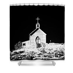 Manhattan Church High Contrast Shower Curtain by Cat Connor