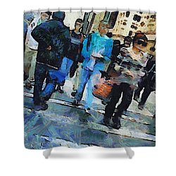 Manhattan Crosswalk Shower Curtain by Dan Sproul