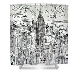 Shower Curtain featuring the drawing Manhattan by Janice Rae Pariza