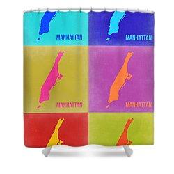 Manhattan Pop Art Map 3 Shower Curtain by Naxart Studio