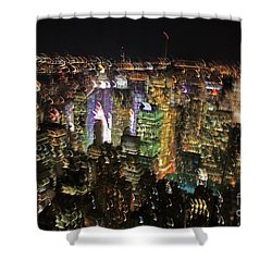 Shower Curtain featuring the photograph Manhattan Skyline Empire State Wobbles by Andy Prendy