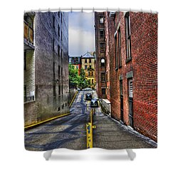 Manhattan Theater District Alley Shower Curtain by Randy Aveille