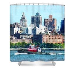 Manhattan - Tugboat Against Manhattan Skyline Shower Curtain by Susan Savad