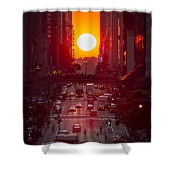 Manhattanhenge Shower Curtain