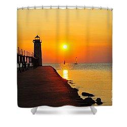 Manistee Lighthouse Sunset Shower Curtain