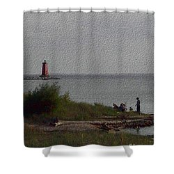 Shower Curtain featuring the photograph Manistique Light by Charles Robinson
