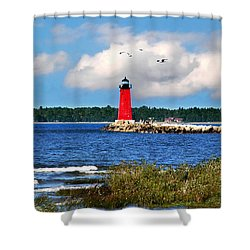 Manistique Lighthouse Shower Curtain by Christina Rollo