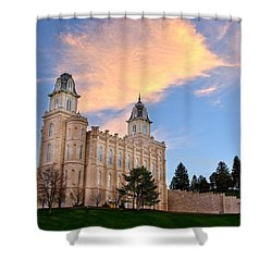 Manti Temple Morning Shower Curtain by David Andersen