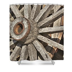 Many Wooden Wheels Shower Curtain by Phyllis Denton