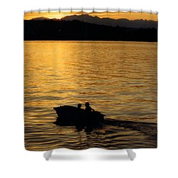 Manzanita Bay Washington Sunset Cruising Shower Curtain by Jack Pumphrey
