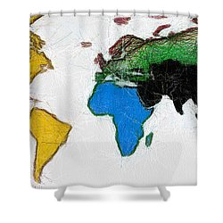 Map Digital Art World Shower Curtain