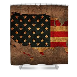 Map Of America United States Usa With Flag Art On Distressed Worn Canvas Shower Curtain by Design Turnpike