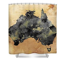 Map Of Australia Grunge Shower Curtain by Daniel Hagerman