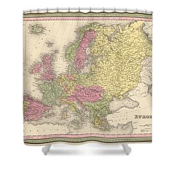 Map Of Europe Shower Curtain by Gary Grayson