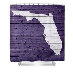 Map Of Florida State Outline White Distressed Paint On Reclaimed Wood Planks Shower Curtain by Design Turnpike