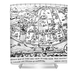 Map Of Fort Ord Army Base Monterey California Circa 1950 Shower Curtain