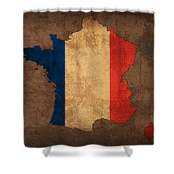 Map Of France With Flag Art On Distressed Worn Canvas Shower Curtain by Design Turnpike