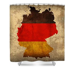 Map Of Germany With Flag Art On Distressed Worn Canvas Shower Curtain by Design Turnpike