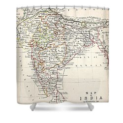Map Of India Shower Curtain by Alexander Keith Johnson