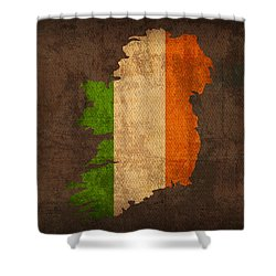 Map Of Ireland With Flag Art On Distressed Worn Canvas Shower Curtain by Design Turnpike