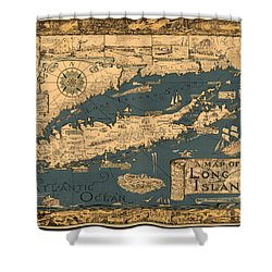 Map Of Long Island Shower Curtain by Andrew Fare