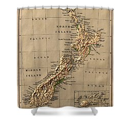 Map Of New Zealand 1880 Shower Curtain